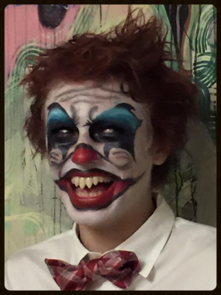 Scary satchel clown